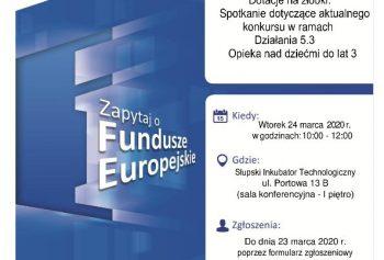 """Spotkanie informacyjne w Słupsku: """"Dotacje na żłobki."""