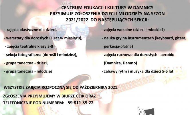 Ogłoszenie o naborze na zajęcia w CEiK w sezonie 21/22